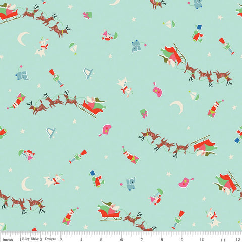 SALE Way Up North Flight Mint - Riley Blake Designs - Green Christmas - Quilting Cotton Fabric - choose your cut