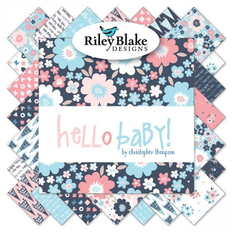 "Hello Baby - Layer Cake 10"" Stacker Bundle  - Riley Blake Designs - 42 piece Precut - Pre cut - Pink Blue Baby Quilting Cotton Fabric"