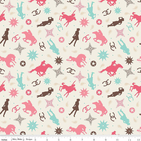 Boots and Spurs Main Cream - Riley Blake Designs - Western Cowgirl - Quilting Cotton Fabric - choose your cut