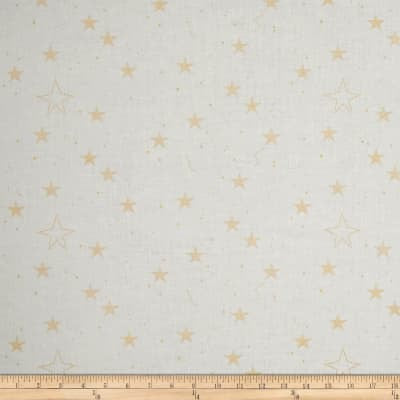 SALE Magic Lucky Stars White METALLIC by Sarah Jane for Michael Miller - Gold Star - Quilting Cotton Fabric
