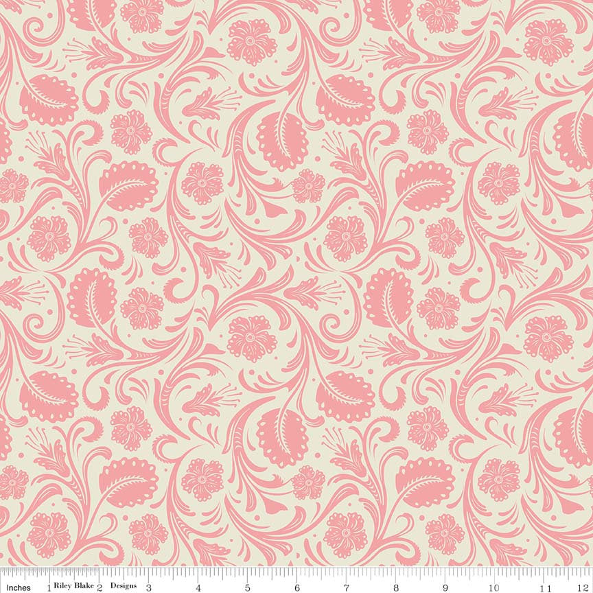 SALE Boots and Spurs Floral Cream - Riley Blake Designs - Cream Pink - Quilting Cotton Fabric