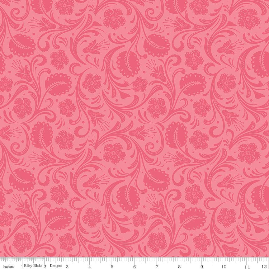 SALE Boots and Spurs Floral Pink - Riley Blake Designs - Tone on Tone -  Quilting Cotton Fabric - end of bolt pieces