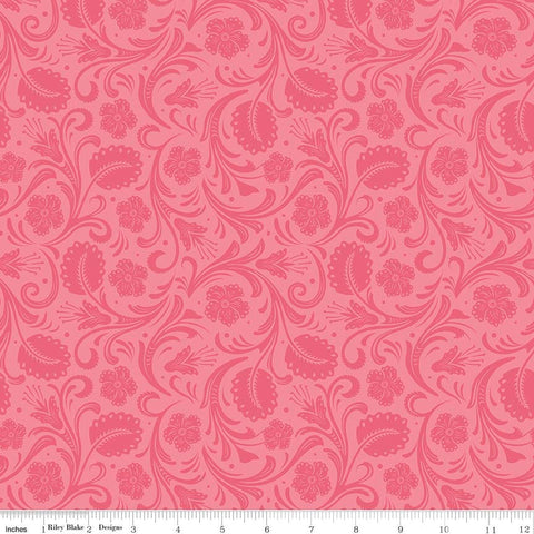 "SALE Boots and Spurs Floral Pink - Riley Blake Designs - Tone on Tone -  Quilting Cotton Fabric - 28"" end of bolt piece"