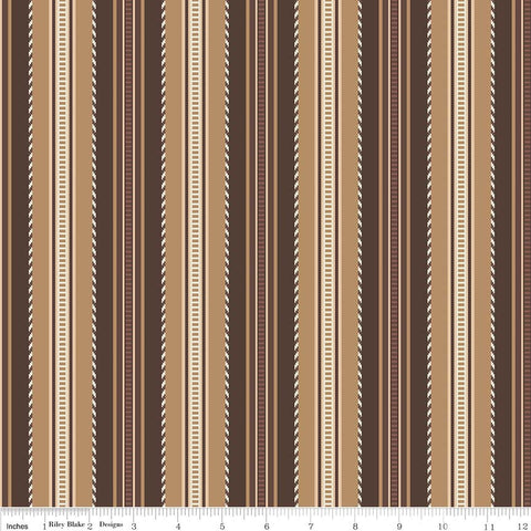 SALE Boots and Spurs Stripe Brown - Riley Blake Designs - Stripes - Quilting Cotton Fabric
