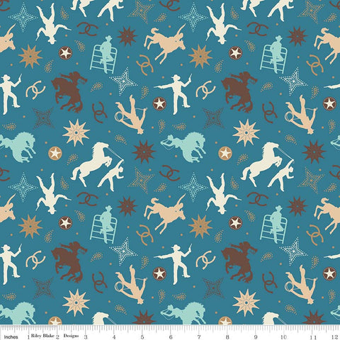 Boots and Spurs Main Blue - Riley Blake Designs - Brown Western Cowboy - Quilting Cotton Fabric - choose your cut
