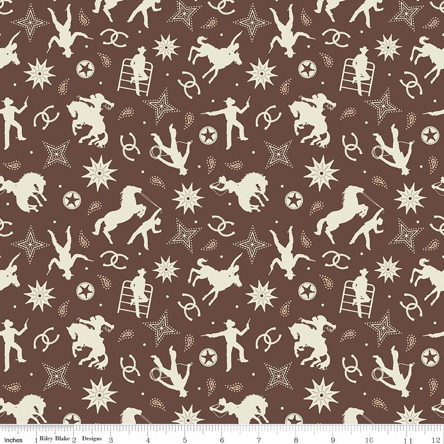 Boots and Spurs Main Brown  - Riley Blake Designs - Cream Western Cowboy - Quilting Cotton Fabric - choose your cut