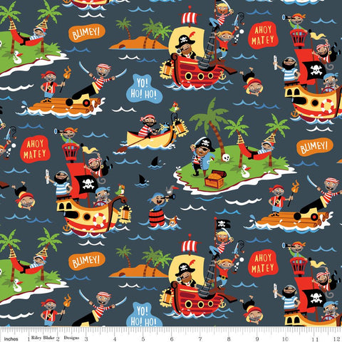 Pirate's Life Main Gray - Riley Blake Designs - Pirate Treasure Ship Islands -  Quilting Cotton Fabric