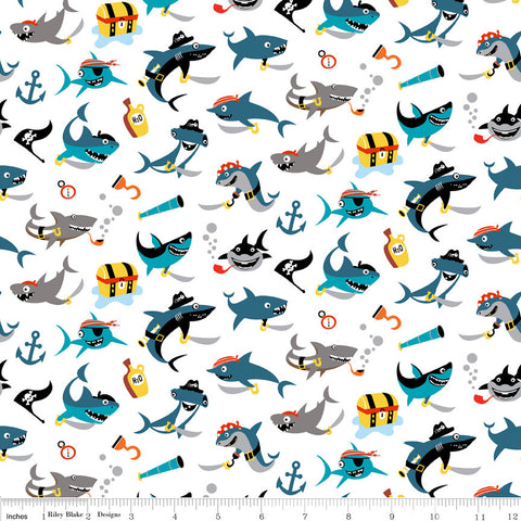 Pirate's Life Shark Attack White - Riley Blake Designs - Pirates Sharks Treasure -  Quilting Cotton Fabric