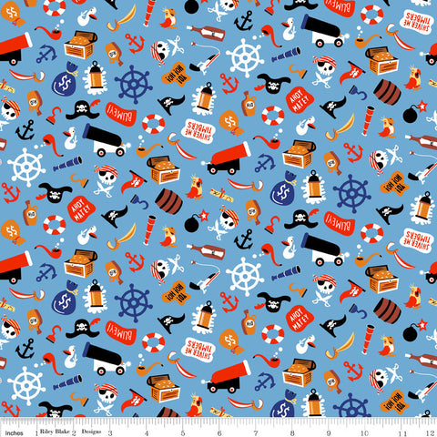 Pirate's Life Unbattened Hatches Blue - Riley Blake Designs - Pirates Treasure -  Quilting Cotton Fabric