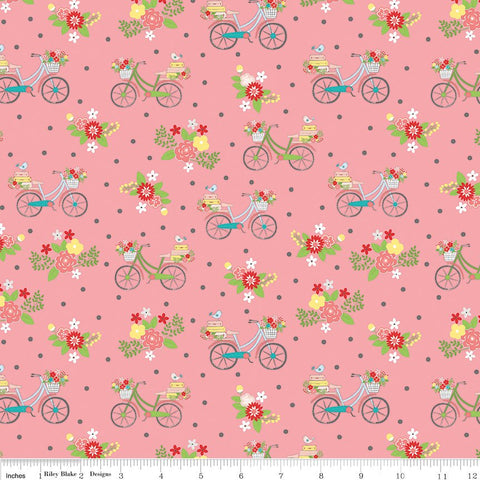 SALE Vintage Adventure Bicycle Pink - Riley Blake Designs - Bikes Floral Flowers -  Quilting Cotton Fabric - choose your cut