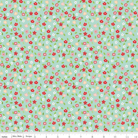 Vintage Adventure Tiny Floral Aqua - Riley Blake Designs - Blue Green Flowers Camping -  Quilting Cotton Fabric - choose your cut