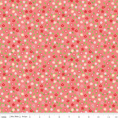 SALE Vintage Adventure Tiny Floral Pink - Riley Blake Designs - Camping Outdoors -  Quilting Cotton Fabric - choose your cut