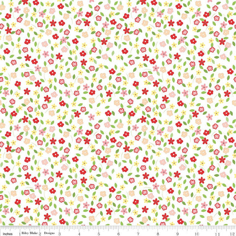 Vintage Adventure Tiny Floral White - Riley Blake Designs - Flowers Camping Outdoors -  Quilting Cotton Fabric - choose your cut
