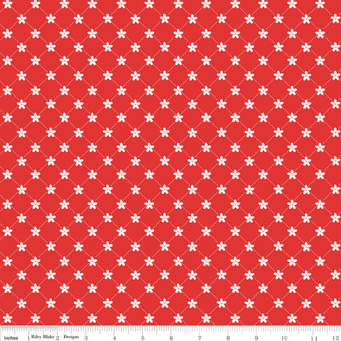 Vintage Adventure Trellis Red - Riley Blake Designs - Floral Flowers Camping Outdoors -  Quilting Cotton Fabric - choose your cut