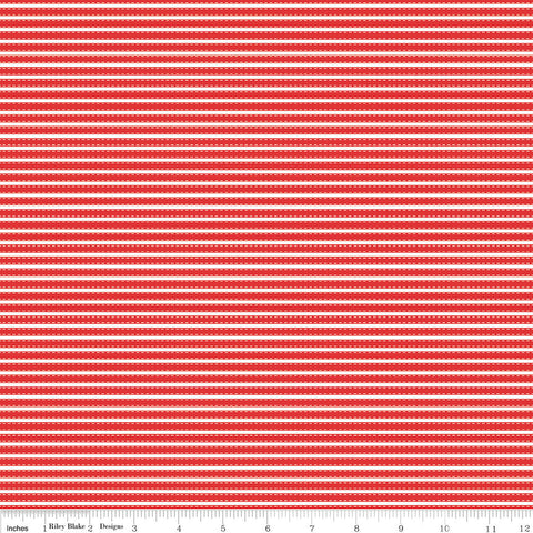 Vintage Adventure Stripe Red - Riley Blake Designs - Camping Outdoors -  Quilting Cotton Fabric