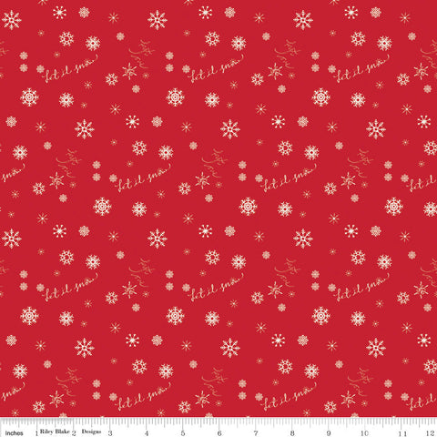 Winter Tales Snowflake Red - Riley Blake Designs - Christmas Let It Snow - Quilting Cotton Fabric