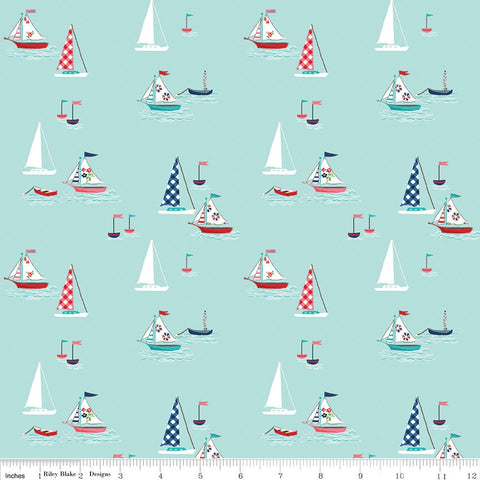 SALE Seaside Boats Aqua - Riley Blake Designs - Blue Sailing Boats  -  Quilting Cotton Fabric - choose your cut