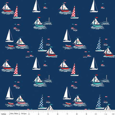 Seaside Boats Navy - Riley Blake Designs - Blue Sailing Boats  -  Quilting Cotton Fabric - choose your cut