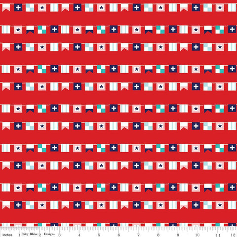 CLEARANCE Seaside Flags Red - Riley Blake Designs  -  Quilting Cotton Fabric - by the yard
