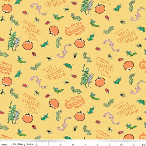 SALE James and the Giant Peach Creature Yellow - Riley Blake Designs - Roald Dahl Story Bugs - Quilting Cotton Fabric