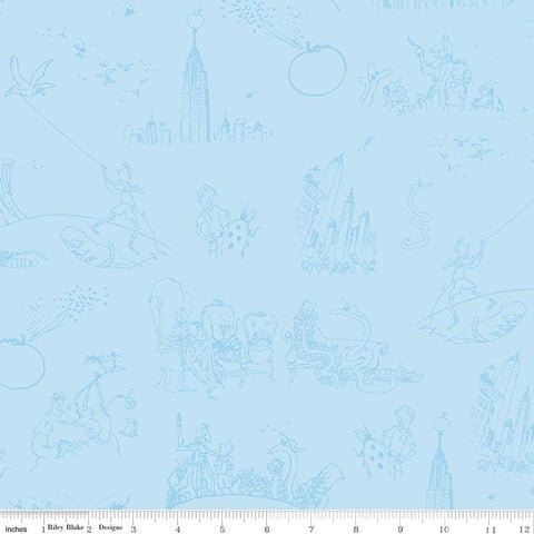 SALE James and the Giant Peach Toile Blue - Riley Blake Designs - Roald Dahl - Quilting Cotton Fabric