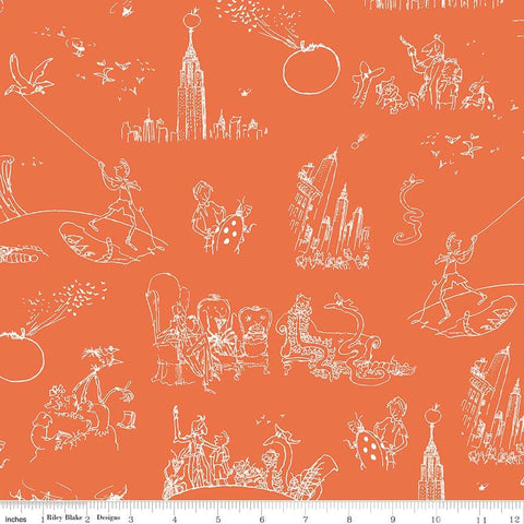 SALE James and the Giant Peach Toile Orange - Riley Blake Designs - Roald Dahl - Quilting Cotton Fabric