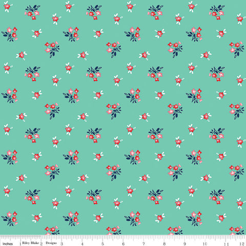 SALE Seaside Bouquet Teal - Riley Blake Designs  -  Green Floral Flowers - Quilting Cotton Fabric - choose your cut