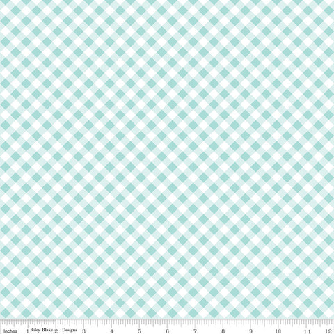 SALE Seaside PRINTED Gingham Aqua - Riley Blake Designs  -  Blue and White Checker - Quilting Cotton Fabric - choose your cut