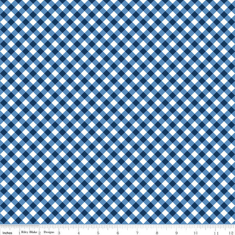Seaside PRINTED Gingham Navy - Riley Blake Designs  -  Blue and White Checkers - Quilting Cotton Fabric - choose your cut