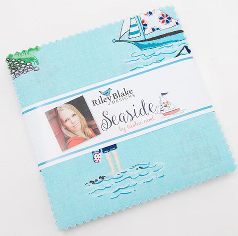 "Seaside Charm Pack 5"" Stacker Bundle - Riley Blake Designs - 42 piece Precut Pre cut - Sailing Boats - Quilting Cotton Fabric"