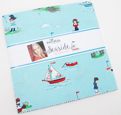 "SALE Seaside Layer Cake 10"" Stacker Bundle - Riley Blake Designs - Boats Sailing - 42 piece Precut - Pre cut - Quilting Cotton Fabric"