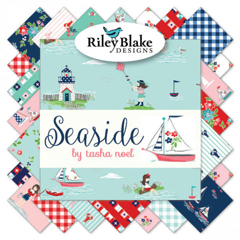 Seaside Fat Quarter Bundle 21 pieces - Riley Blake Designs - Pre cut Precut - Boats Sailing - Quilting Cotton Fabric - Free US Shipping