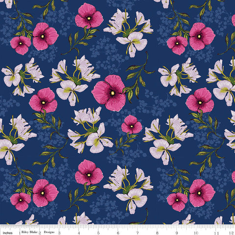 CLEARANCE Club Havana Main Navy - Riley Blake Designs  -  Blue Flowers Floral - Quilting Cotton Fabric - by the yard