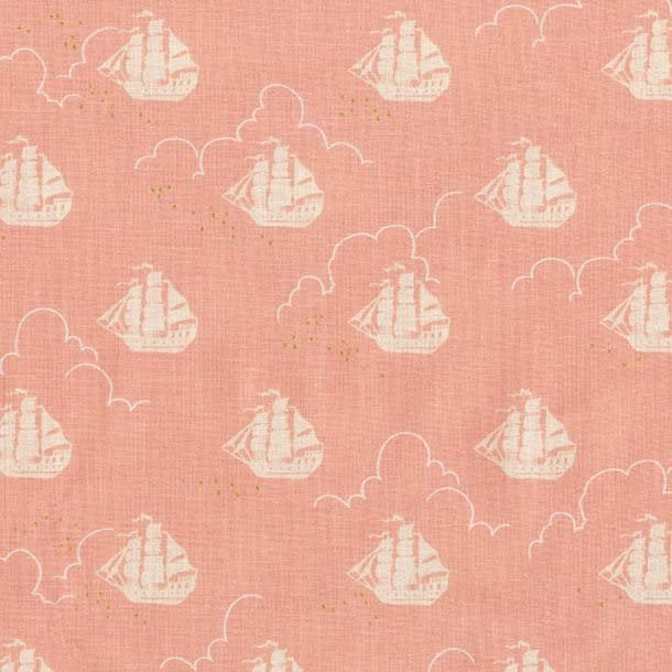 Peter Pan - Jolly Roger - Blossom - Sarah Jane for Michael Miller - Pink Gold METALLIC - Quilting Cotton Fabric