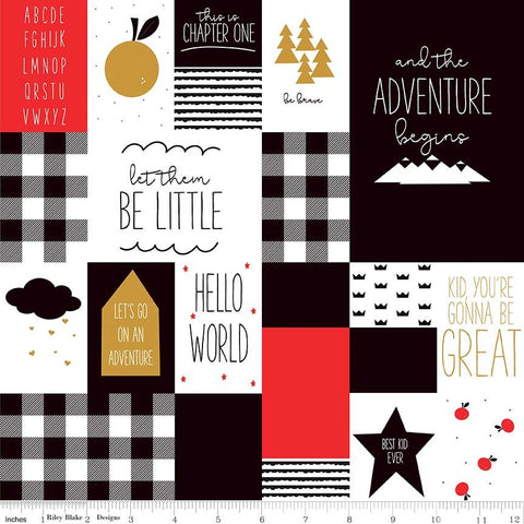 CLEARANCE Let Them Be Little Main Black - Gold Is Gold SPARKLE - Riley Blake Designs - Black Red Baby - Quilting Cotton Fabric - by the yard