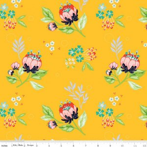 SALE Jubilee Main Yellow - Riley Blake Designs - Yellow Green Pink Floral - Quilting Cotton Fabric