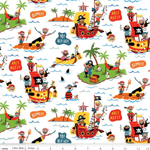 Pirate's Life Main White - Riley Blake Designs - Pirate Treasure Ship Islands -  Quilting Cotton Fabric
