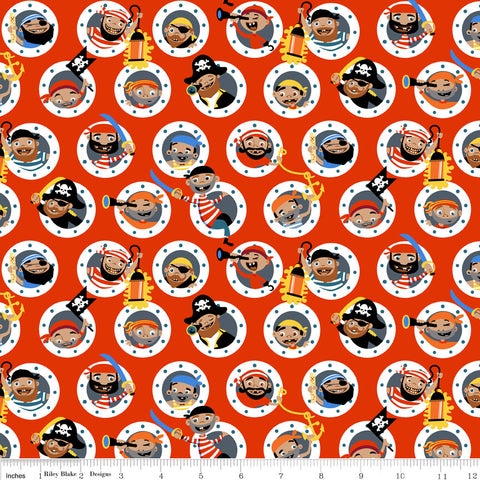 Pirate's Life Holed Up Red - Riley Blake Designs - Pirates Swords Ship Portholes -  Quilting Cotton Fabric