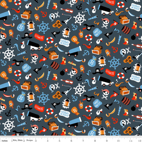 Pirate's Life Unbattened Hatches Gray - Riley Blake Designs - Pirates Treasure -  Quilting Cotton Fabric