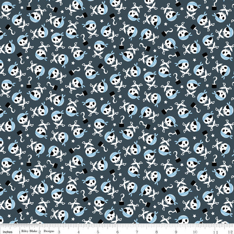 Pirate's Life Skulls and Swords Gray - Riley Blake Designs -  Quilting Cotton Fabric