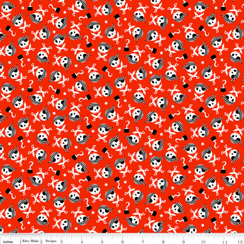 "SALE Pirate's Life Skulls and Swords Red - Riley Blake Designs -  Quilting Cotton Fabric - 1 yard 34"" End of bolt piece"