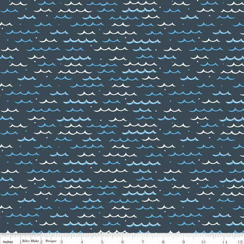 Pirate's Life Seas the Day Gray - Riley Blake Designs - Ocean Waves - Quilting Cotton Fabric