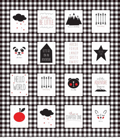 Let Them Be Little Panel Black by Riley Blake Designs - Digital Baby Block Panel- Quilting Cotton Fabric