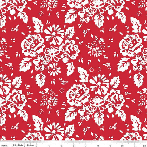 SALE So Ruby Main Red - Riley Blake Designs - Red White Floral -  Quilting Cotton Fabric - choose your cut