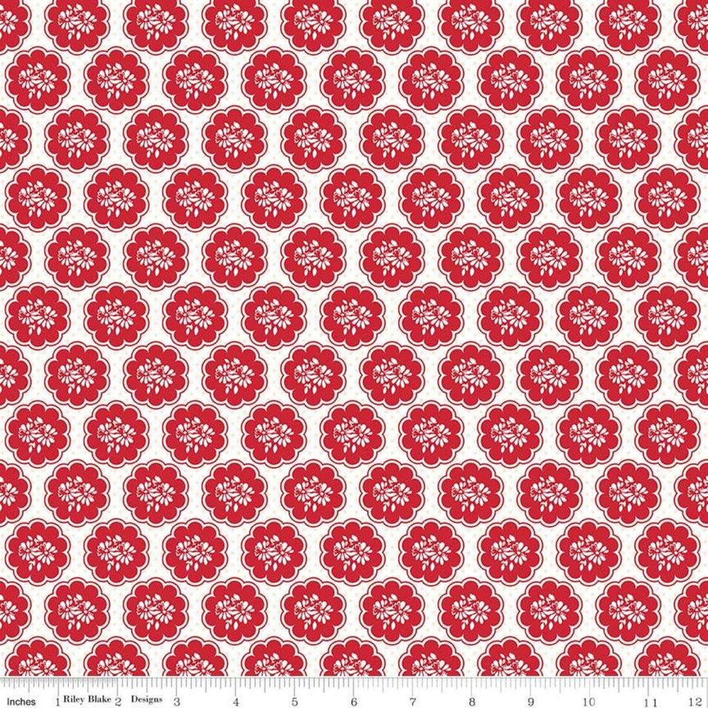 So Ruby Scallop White - Riley Blake Designs - Red White Floral -  Quilting Cotton Fabric