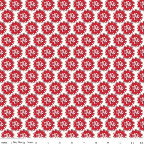 SALE So Ruby Scallop White - Riley Blake Designs - Red White Floral -  Quilting Cotton Fabric - choose your cut