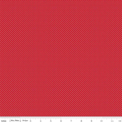 SALE So Ruby Pin Dot Red - Riley Blake Designs - White Small Polka Dots -  Quilting Cotton Fabric - choose your cut