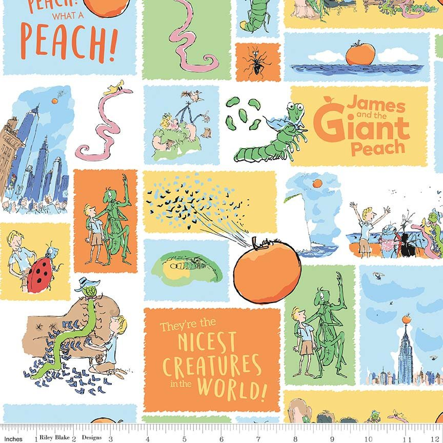 James and the Giant Peach Main White - Riley Blake Designs - Roald Dahl Story Bugs - Quilting Cotton Fabric - 1/2 yard end of bolt piece