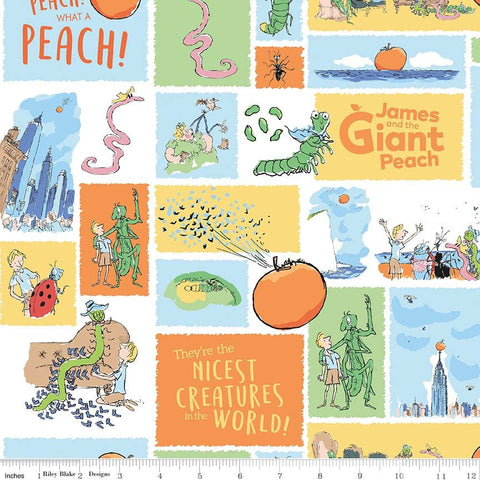 James and the Giant Peach Main White - Riley Blake Designs - Roald Dahl Story Bugs - Quilting Cotton Fabric