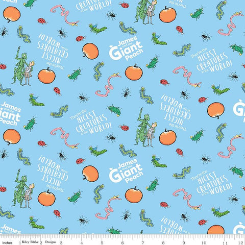 James and the Giant Peach Creature Blue - Riley Blake Designs - Roald Dahl Story Bugs - Quilting Cotton Fabric